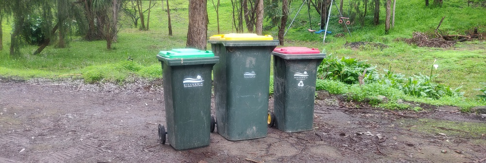 Nillumbik's red, yellow and green bins.