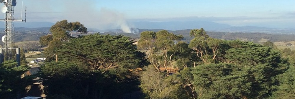 A fire seen from the Kangaroo Ground lookout tower.