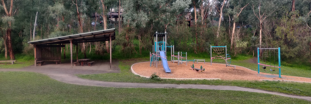 The playground on Weerona Way in North Warrandyte, which is currently closed due to COVID-19.